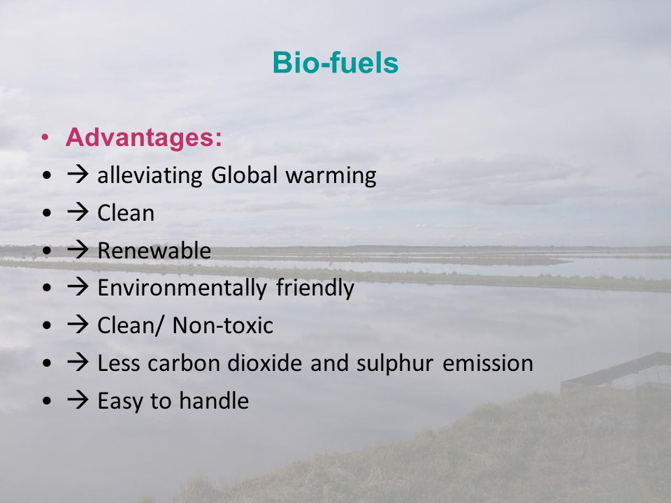 Bio-fuels Advantages:  alleviating Global warming  Clean  Renewable