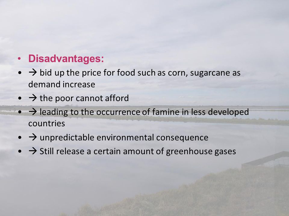 Disadvantages:  bid up the price for food such as corn, sugarcane as demand increase.  the poor cannot afford.