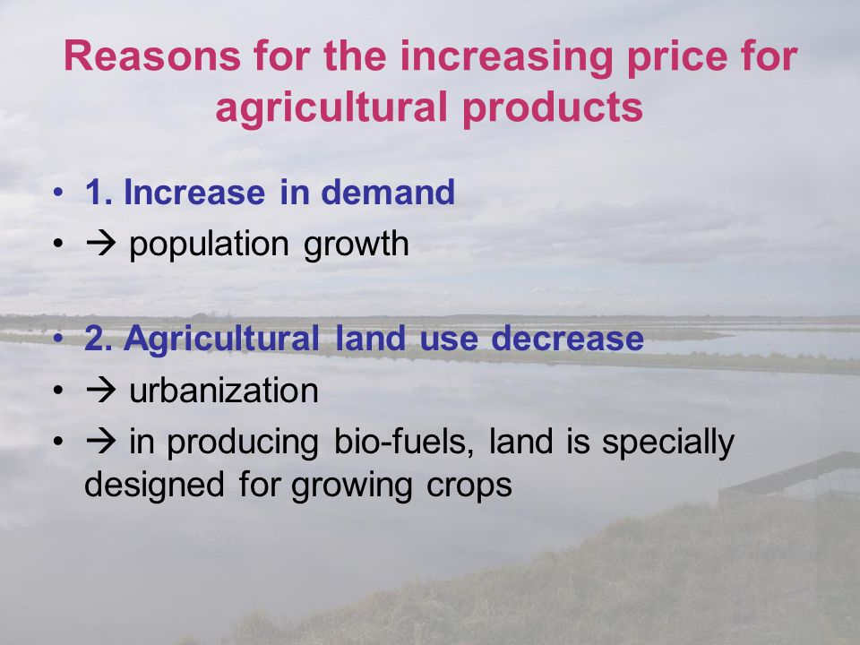 Reasons for the increasing price for agricultural products