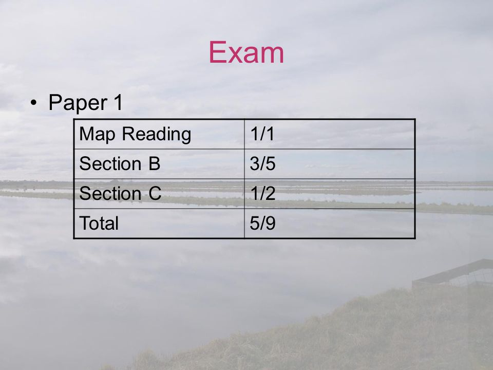 Exam Paper 1 Map Reading 1/1 Section B 3/5 Section C 1/2 Total 5/9