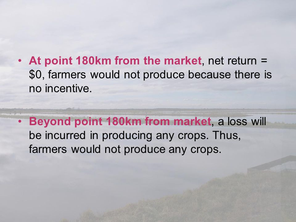 At point 180km from the market, net return = $0, farmers would not produce because there is no incentive.