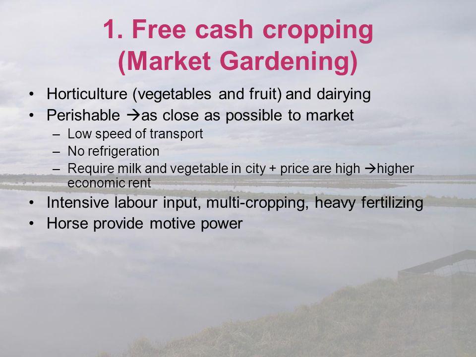 1. Free cash cropping (Market Gardening)