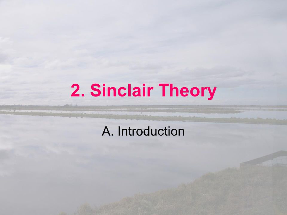 2. Sinclair Theory A. Introduction