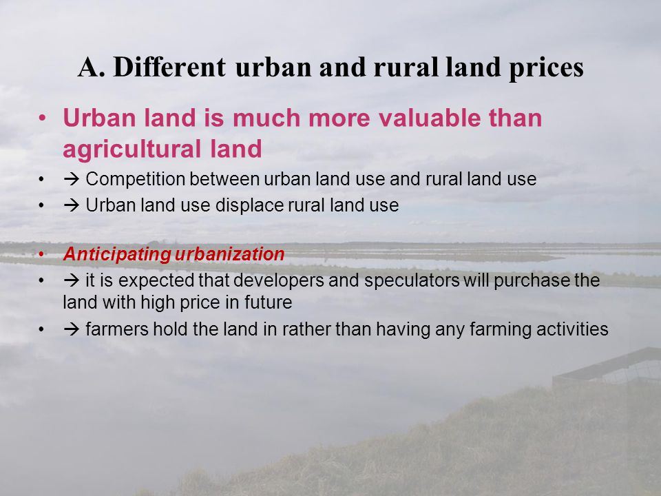A. Different urban and rural land prices