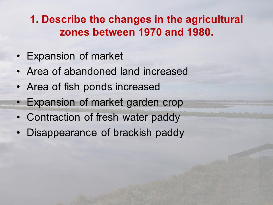 1. Describe the changes in the agricultural zones between 1970 and 1980.