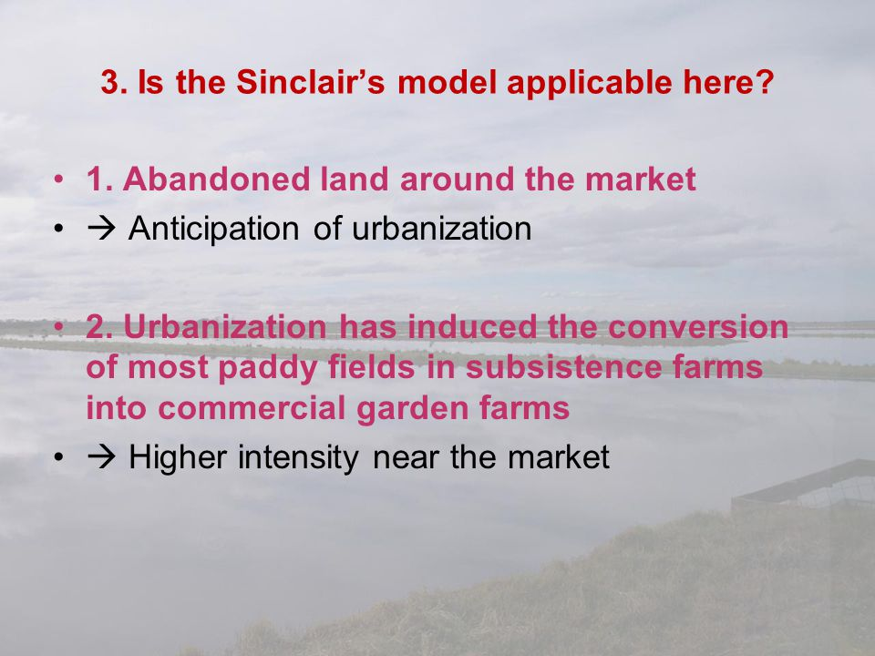 3. Is the Sinclair's model applicable here