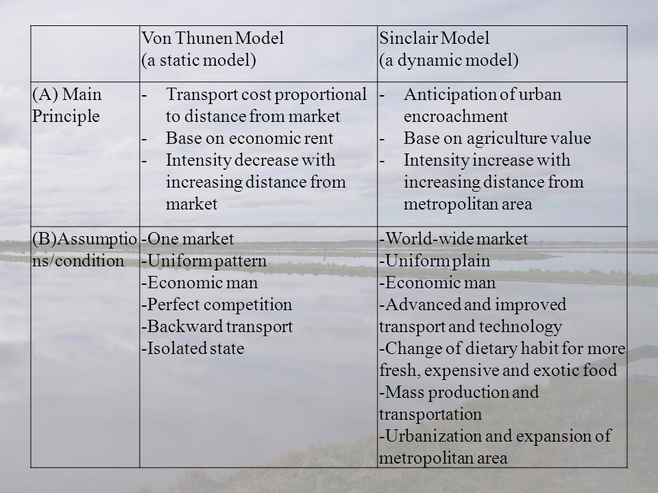 Von Thunen Model (a static model) Sinclair Model. (a dynamic model) (A) Main Principle. Transport cost proportional to distance from market.