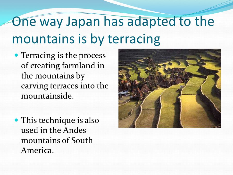 One way Japan has adapted to the mountains is by terracing