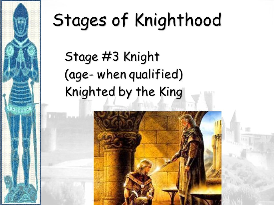 Stages of Knighthood Stage #3 Knight (age- when qualified)