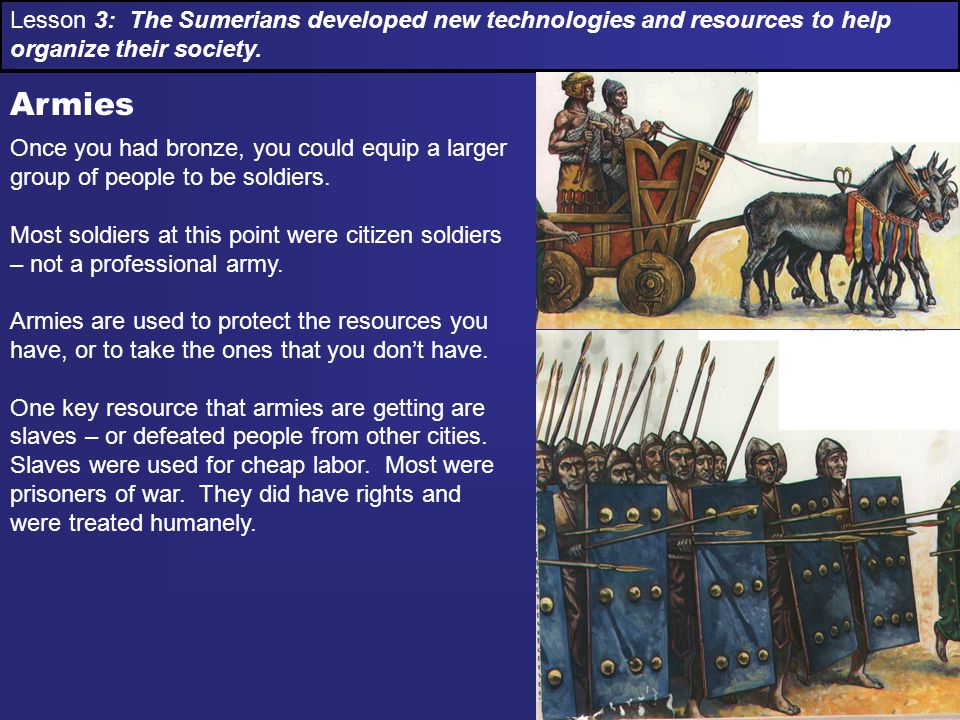 Lesson 3: The Sumerians developed new technologies and resources to help organize their society.