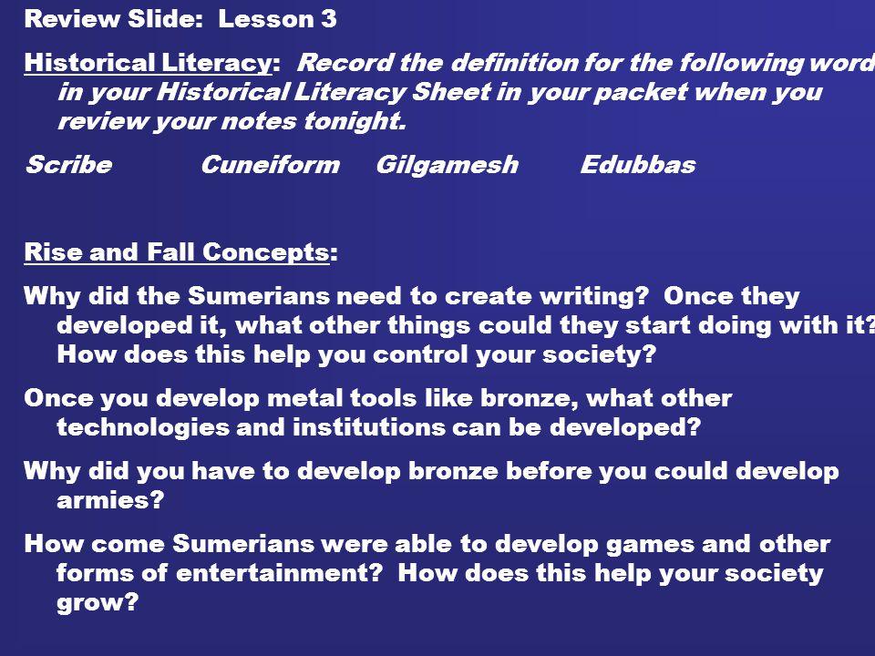 Review Slide: Lesson 3