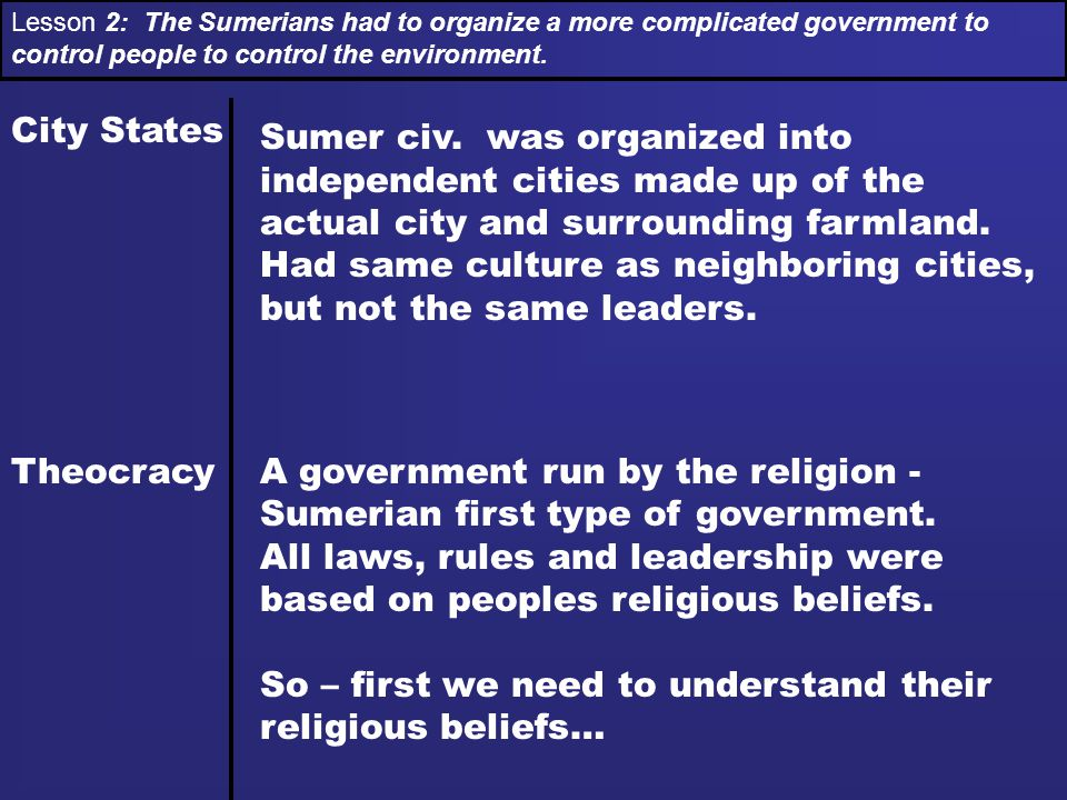 A government run by the religion - Sumerian first type of government.