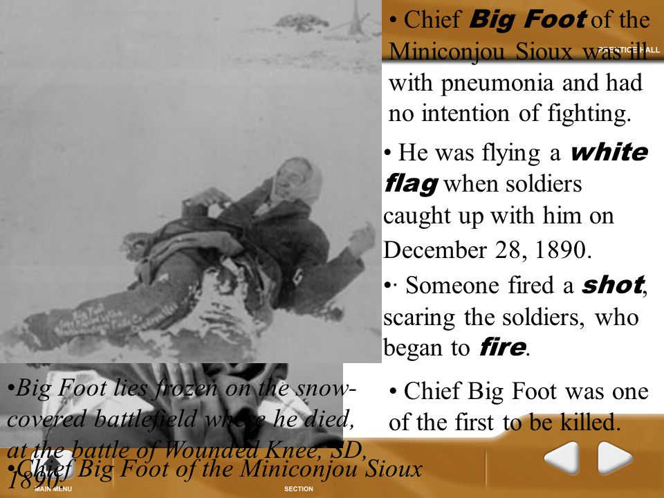 Chief Big Foot of the Miniconjou Sioux was ill with pneumonia and had no intention of fighting.