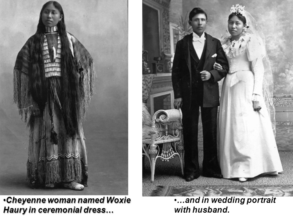 Cheyenne woman named Woxie Haury in ceremonial dress…
