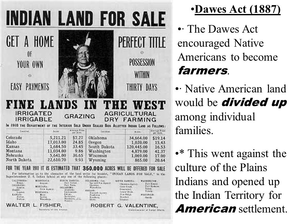 Dawes Act (1887) · The Dawes Act encouraged Native Americans to become farmers.