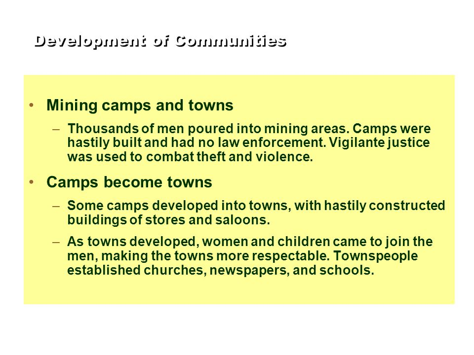 Development of Communities