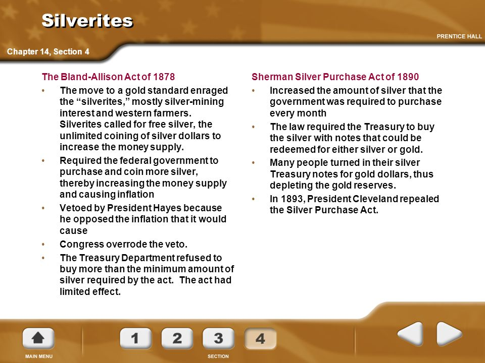 Silverites The Bland-Allison Act of 1878