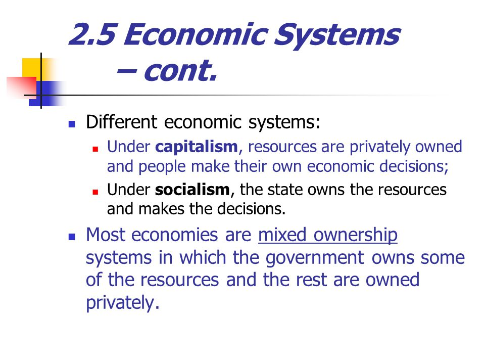 2.5 Economic Systems – cont.