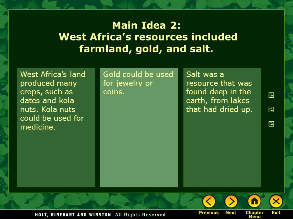 Main Idea 2: West Africa's resources included farmland, gold, and salt.