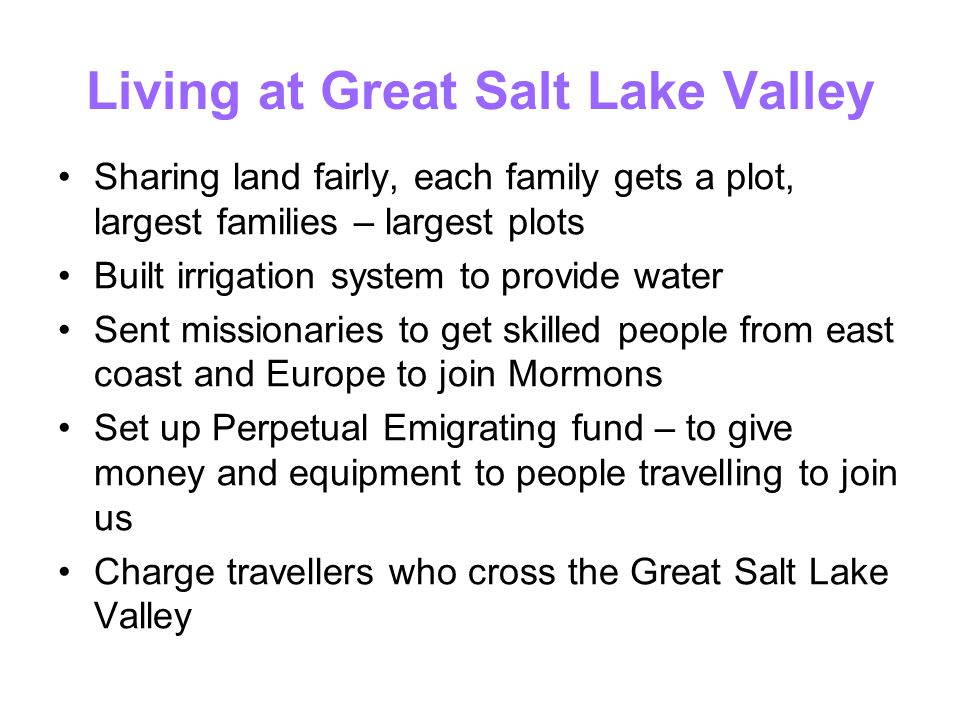 Living at Great Salt Lake Valley