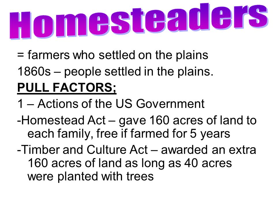 Homesteaders = farmers who settled on the plains