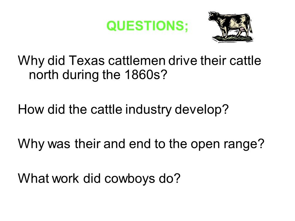 QUESTIONS; Why did Texas cattlemen drive their cattle north during the 1860s How did the cattle industry develop