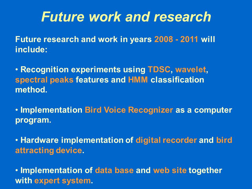 Future work and research