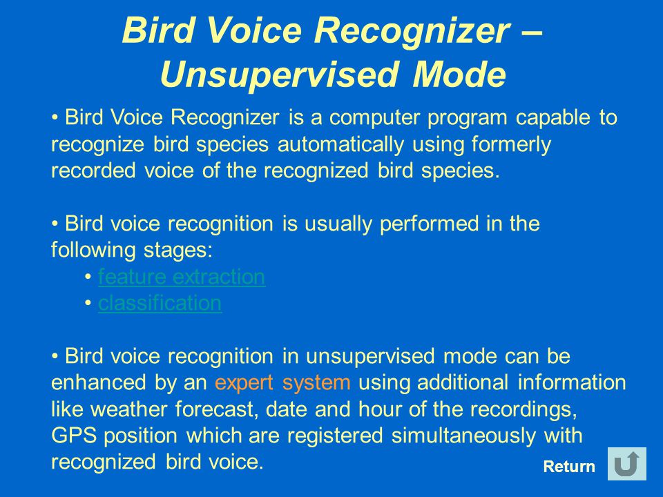Bird Voice Recognizer – Unsupervised Mode