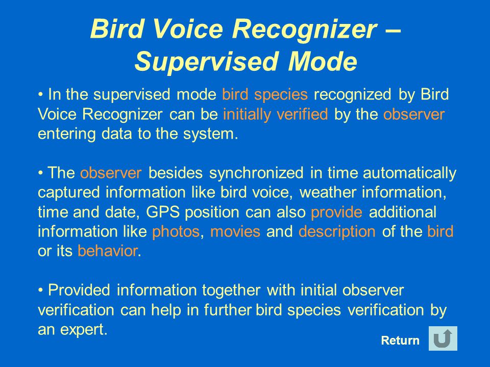 Bird Voice Recognizer – Supervised Mode