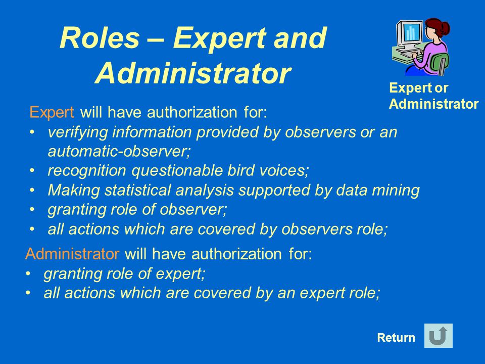 Roles – Expert and Administrator
