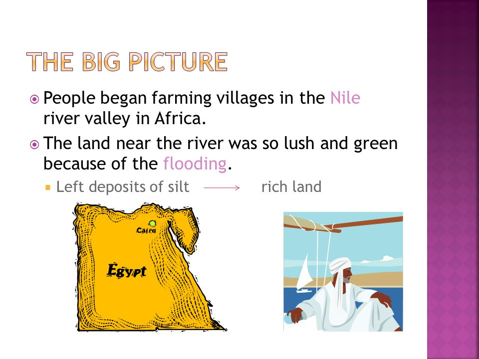 The Big Picture People began farming villages in the Nile river valley in Africa.