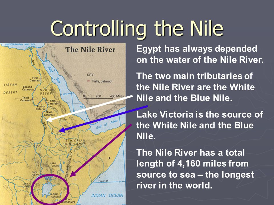 Controlling the Nile Egypt has always depended on the water of the Nile River.