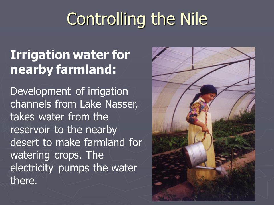 Controlling the Nile Irrigation water for nearby farmland: