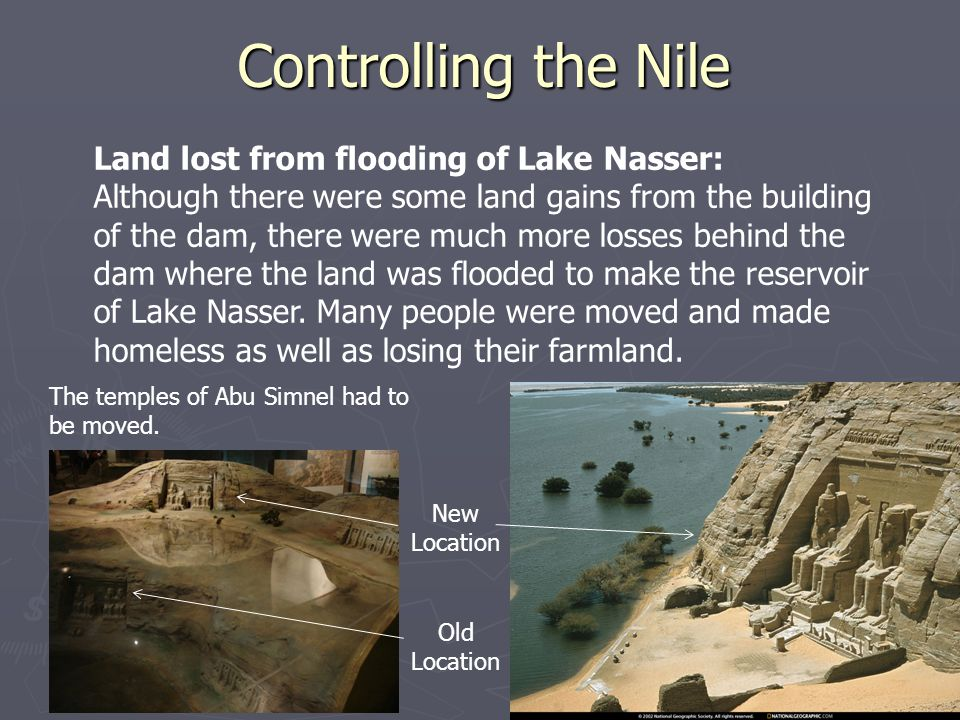 Controlling the Nile Land lost from flooding of Lake Nasser: