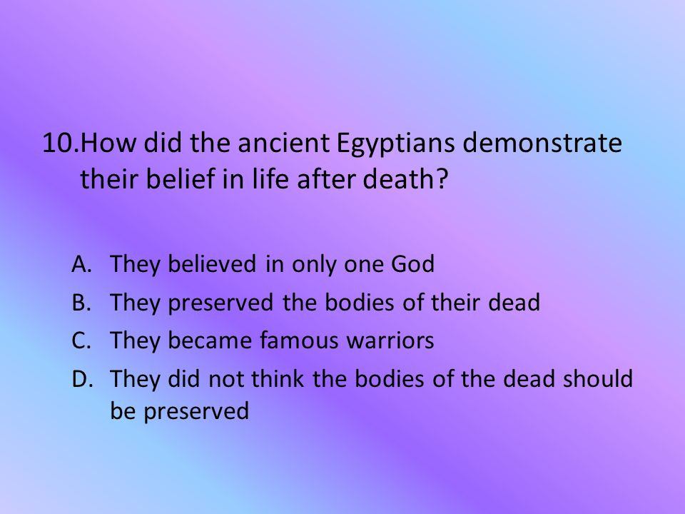 How did the ancient Egyptians demonstrate their belief in life after death