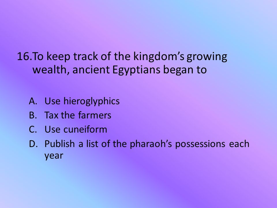 To keep track of the kingdom's growing wealth, ancient Egyptians began to