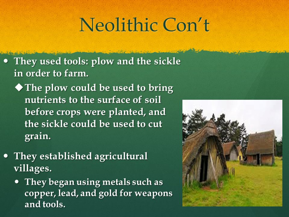 Neolithic Con't They used tools: plow and the sickle in order to farm.