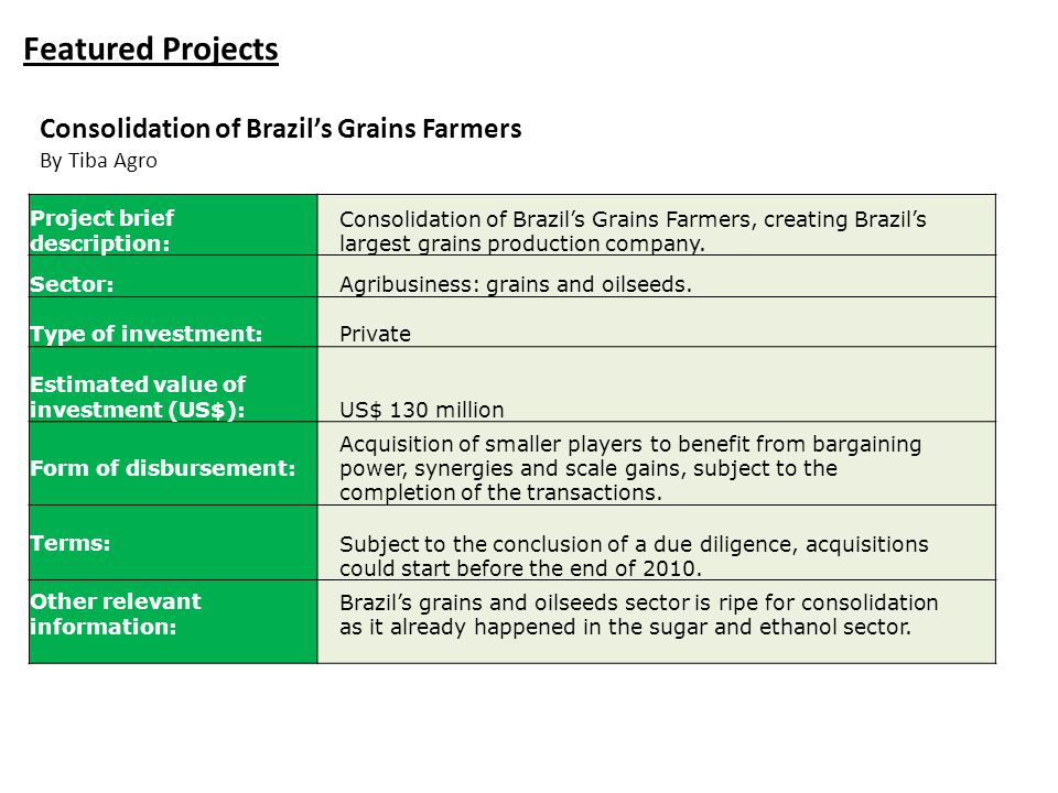 Featured Projects Consolidation of Brazil's Grains Farmers