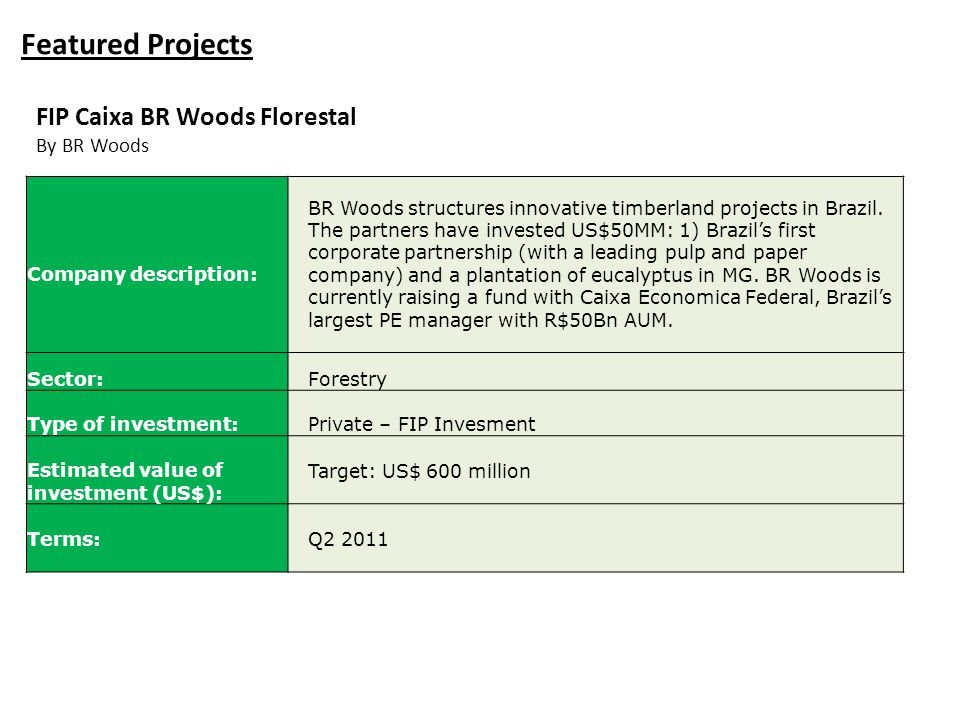 Featured Projects FIP Caixa BR Woods Florestal By BR Woods