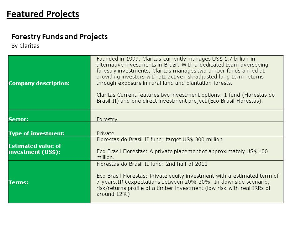 Featured Projects Forestry Funds and Projects By Claritas