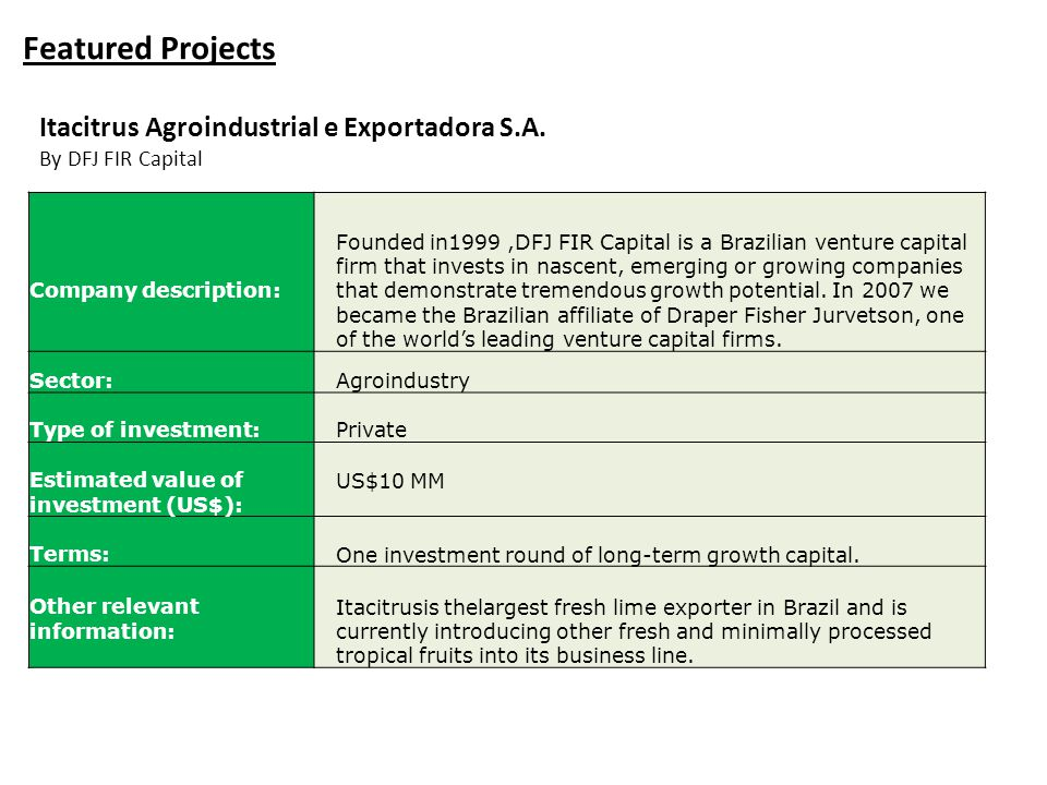 Featured Projects Itacitrus Agroindustrial e Exportadora S.A.