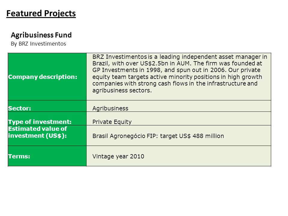 Featured Projects Agribusiness Fund By BRZ Investimentos