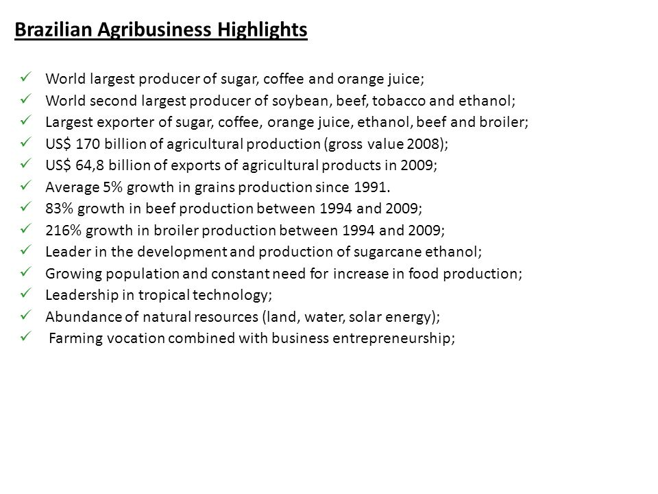 Brazilian Agribusiness Highlights