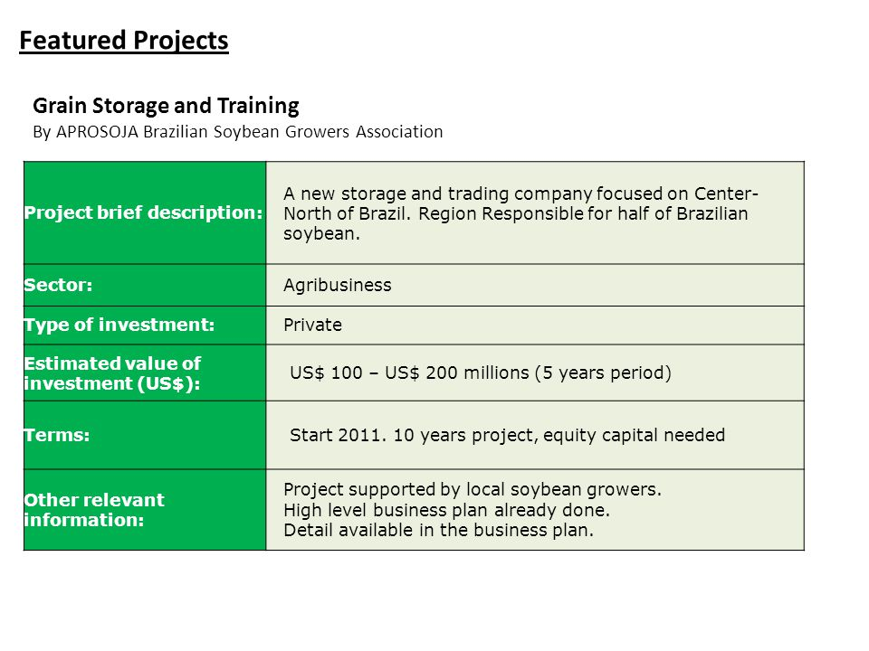 Featured Projects Grain Storage and Training