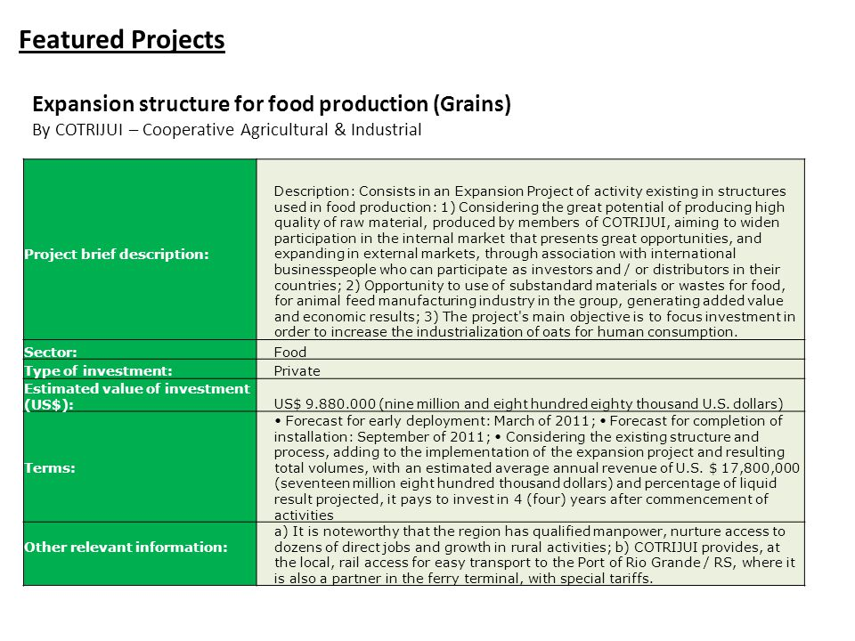 Featured Projects Expansion structure for food production (Grains)