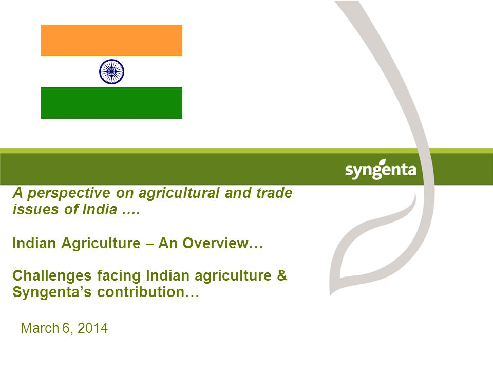 A perspective on agricultural and trade issues of India …