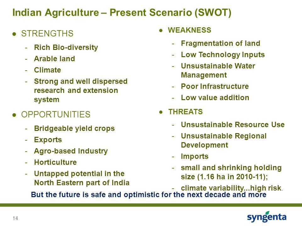 Indian Agriculture – Present Scenario (SWOT)