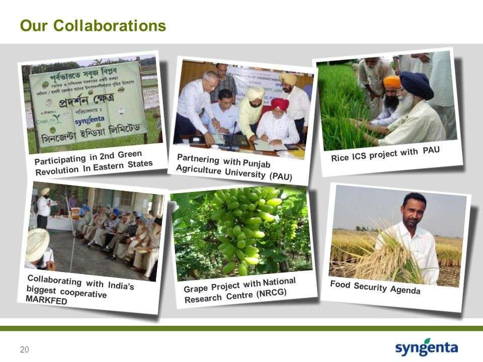 Our Collaborations Rice ICS project with PAU. Participating in 2nd Green Revolution In Eastern States.
