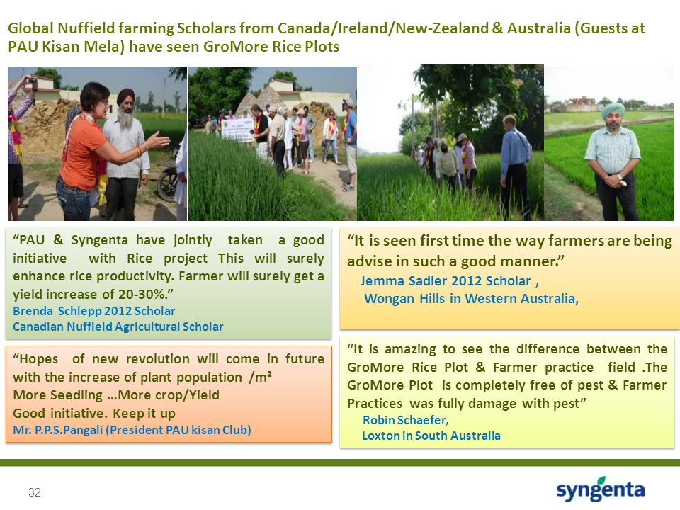 Global Nuffield farming Scholars from Canada/Ireland/New-Zealand & Australia (Guests at PAU Kisan Mela) have seen GroMore Rice Plots