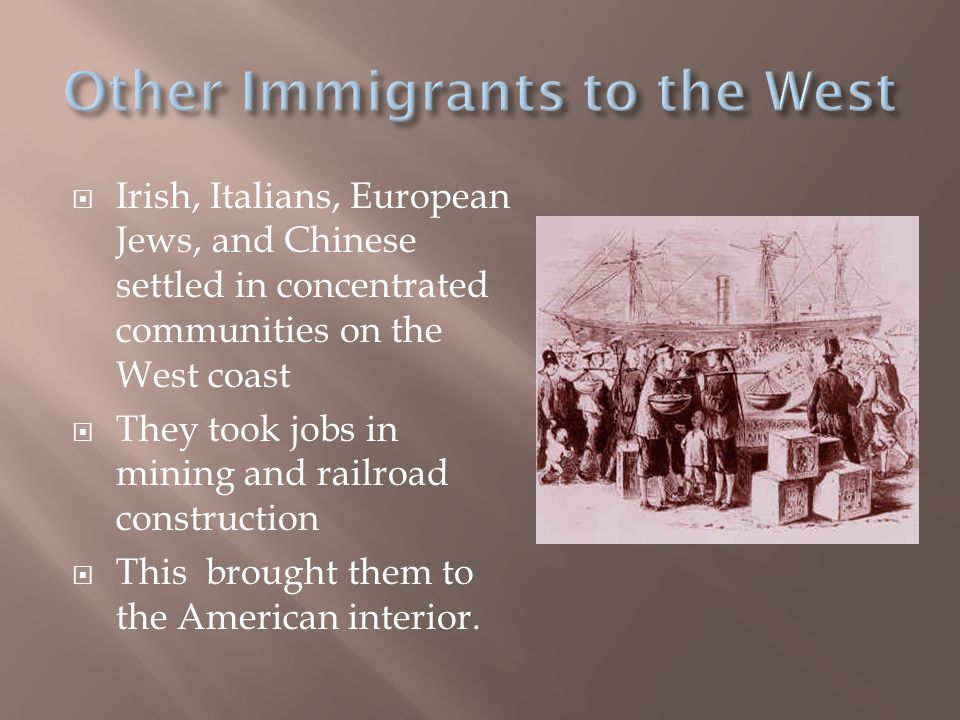 Other Immigrants to the West